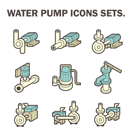 water icon: design of water pump icon sets isolated on white background.