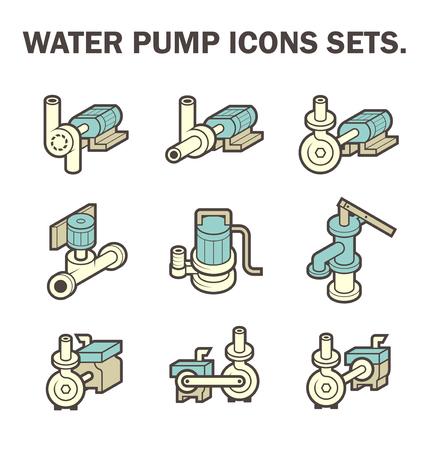 bomba de agua: diseño de los conjuntos de iconos de la bomba de agua aisladas sobre fondo blanco. Vectores