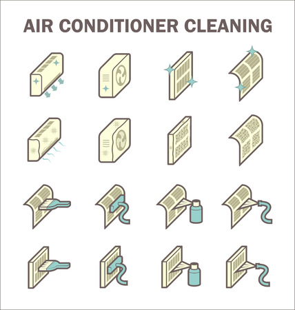conditioner: Air conditioner cleaning icon sets design