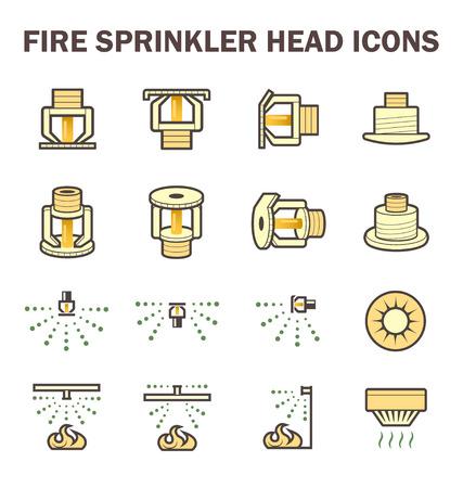 icone conception du système de gicleurs d'incendie comprennent la tête des gicleurs, l'eau de pulvérisation et d'un détecteur de fumée isolé sur fond blanc.