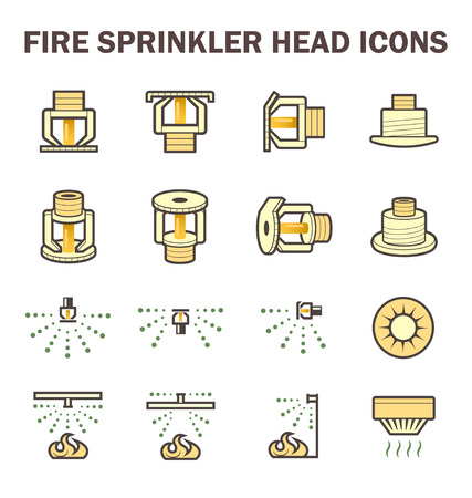 icon design of fire sprinkler system include fire sprinkler head, spray water and smoke detector isolated on white background. Illustration