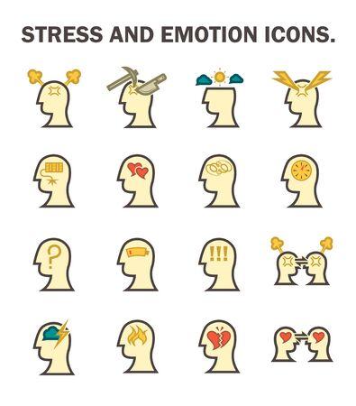 stress: Stress and emotion icons sets design Illustration