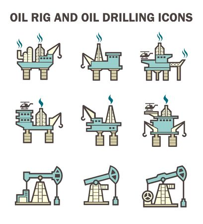 drilling: Oil rig and oil drilling icon sets.