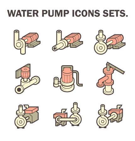 diseño de los conjuntos de iconos de la bomba de agua aisladas sobre fondo blanco.