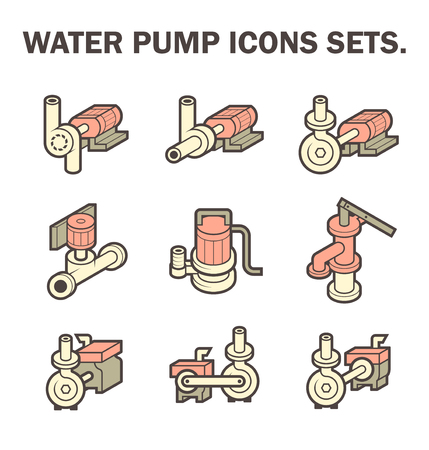 sewage treatment plant: design of water pump icon sets isolated on white background.