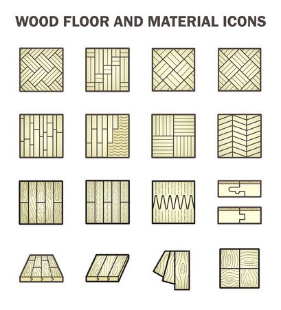 wood floor: Wood floor and material icon sets design.