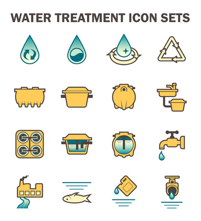 septic: Water treatment icon sets design.