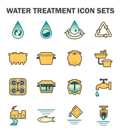 sewage treatment plant: Water treatment icon sets design.