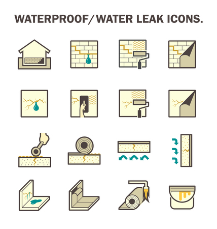 wet: Waterproofing and water leaked icon sets design.
