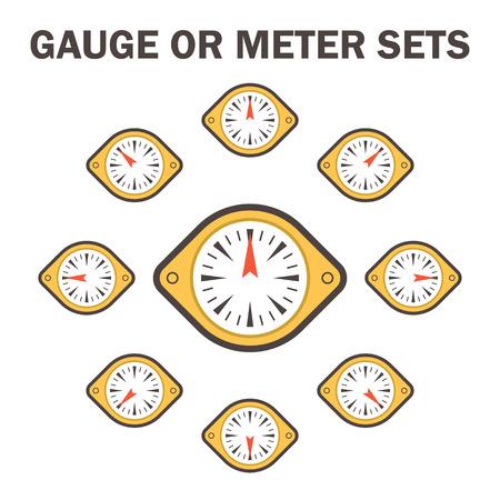 metre: Gauge meter icons sets design on white.