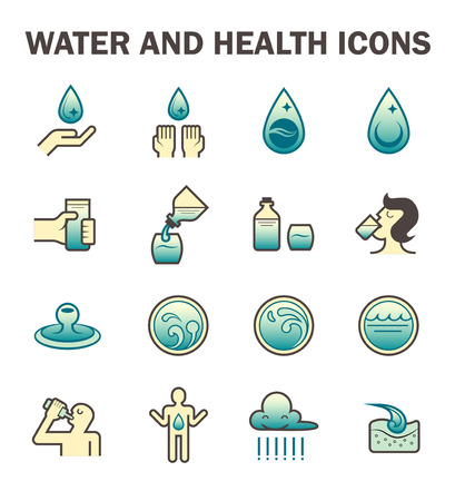 water icon: Water and health icon sets design.