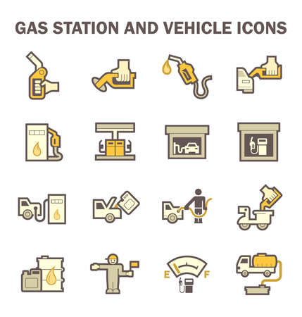 lpg: Gas station and services icon sets.