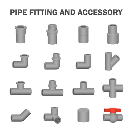 the accessory: Vector of pipe fitting and accessory.