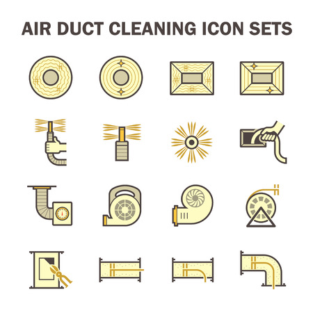 air duct: Air duct pipe cleaning vector icon sets.