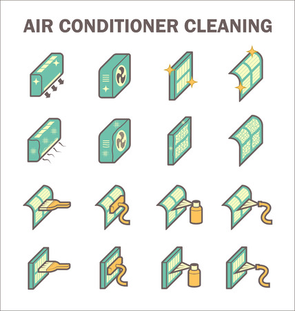 condenser: Air conditioner cleaning vector icon sets design