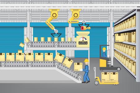 Robot de trabajo con la línea de producción y trabajadores en el interior del almacén o edificio de la fábrica.
