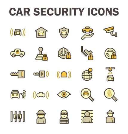 wheel guard: Car security and CCTV vector icon sets. Illustration