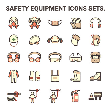 safety harness: Safety equipment and tool vector icon sets design.