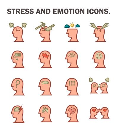 mental work: Stress and emotion icons sets.