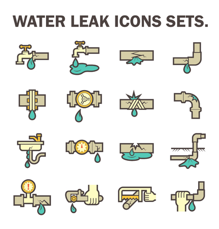 pipe wrench: Burst pipe and water leak vector icon set design.