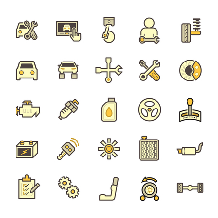 coolant: Car and mechanic vector icon sets. Illustration