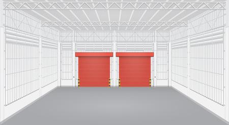 shutter door: Interior of factory with shutter door.