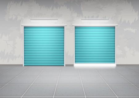 roller shutters: Shutter door or roller door and concrete floor outside building use for background.