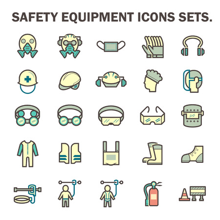 waistcoat: Safety equipment and tool vector icon sets design.