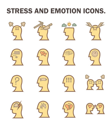 stress: Stress and emotion vector icon set.