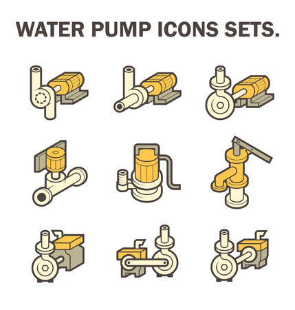 sewage treatment plant: Vector design of water pump icon sets isolated on white background. Illustration