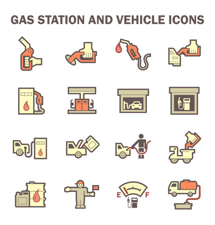 lpg: Gas station and services vector icon sets. Illustration