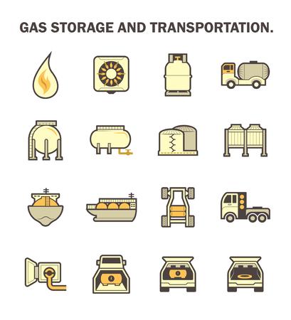 tanque de combustible: almacenamiento de gas y transporte icono de conjuntos. Vectores