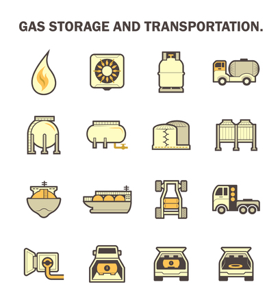 fuel truck: Gas storage and transportation icon sets.