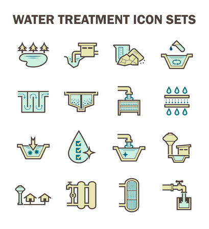 Waterzuivering en watervoorziening icon set design. Stock Illustratie