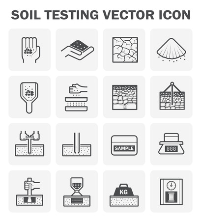 bowels: Vector icon of soil and soil testing. Illustration