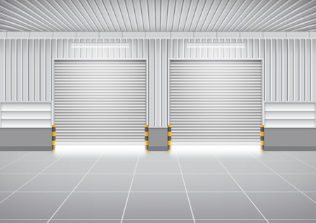 shutters: Vector of shutter door or roller door and concrete floor outside factory building use for industrial background. Illustration