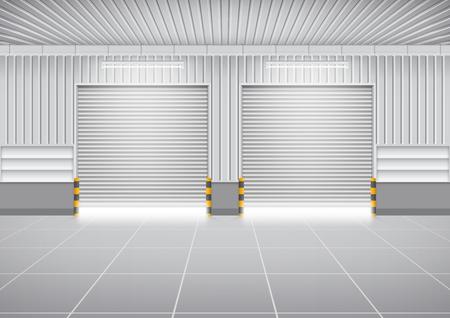 Vector von Rolltor oder Rolltor und Betonboden außerhalb Fabrikgebäude im industriellen Hintergrund.