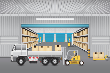 Forklift working with cargo and truck outside warehouse building.