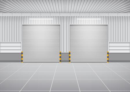 roller shutters: Shutter door or roller door and concrete floor outside factory building use for industrial background. Illustration