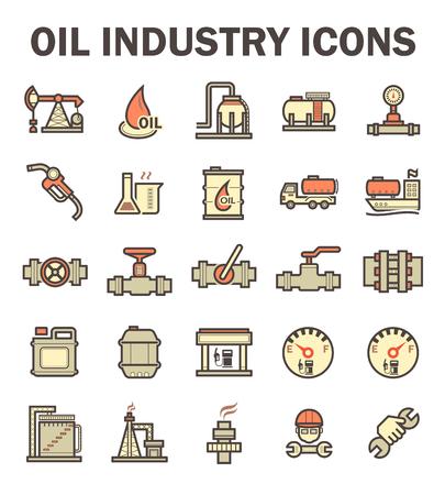 la industria del petróleo y el gas conjuntos de iconos del vector.