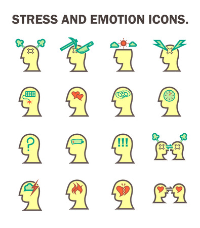 emotional love: Stress and emotion vector icon set.