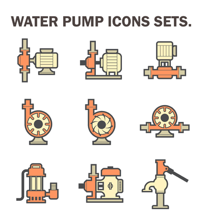 sewage system: Water pump vector icon sets isolated on white background. Illustration