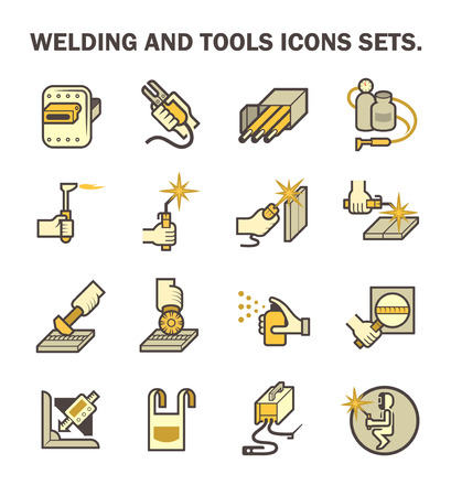 Welding work and welding tools vector icon sets. Illustration
