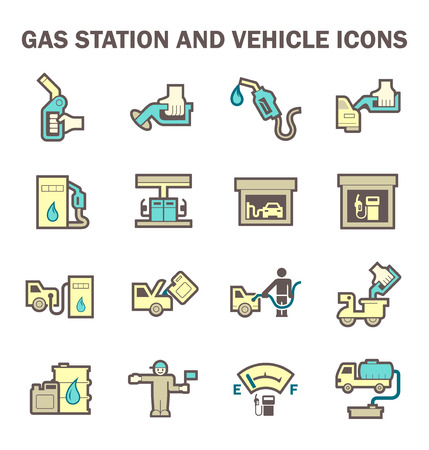 ngv: Gas station and services vector icon sets. Illustration