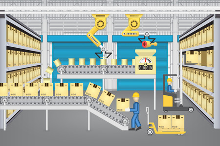 factory worker: Robot working with production line and worker inside warehouse or factory building. Illustration