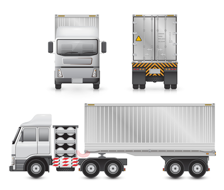 lpg: Vector of trailer truck and cargo container for shipping and transportation isolated on white background. Illustration