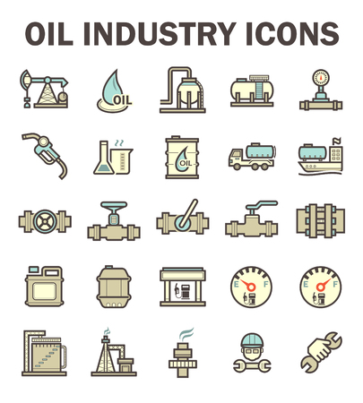Oil and gas industry vector icon sets. Vector Illustration