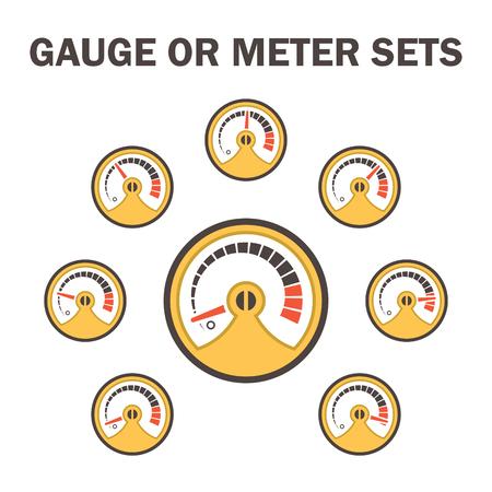 metre: Gauge meter vector icons sets design on white.