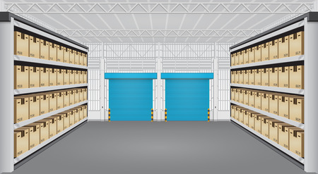 warehouse building: Vector of box on rack and warehouse building.