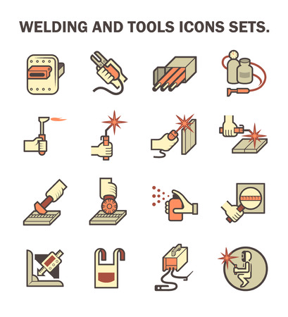 welded: Welding work and welding tools vector icon sets. Illustration